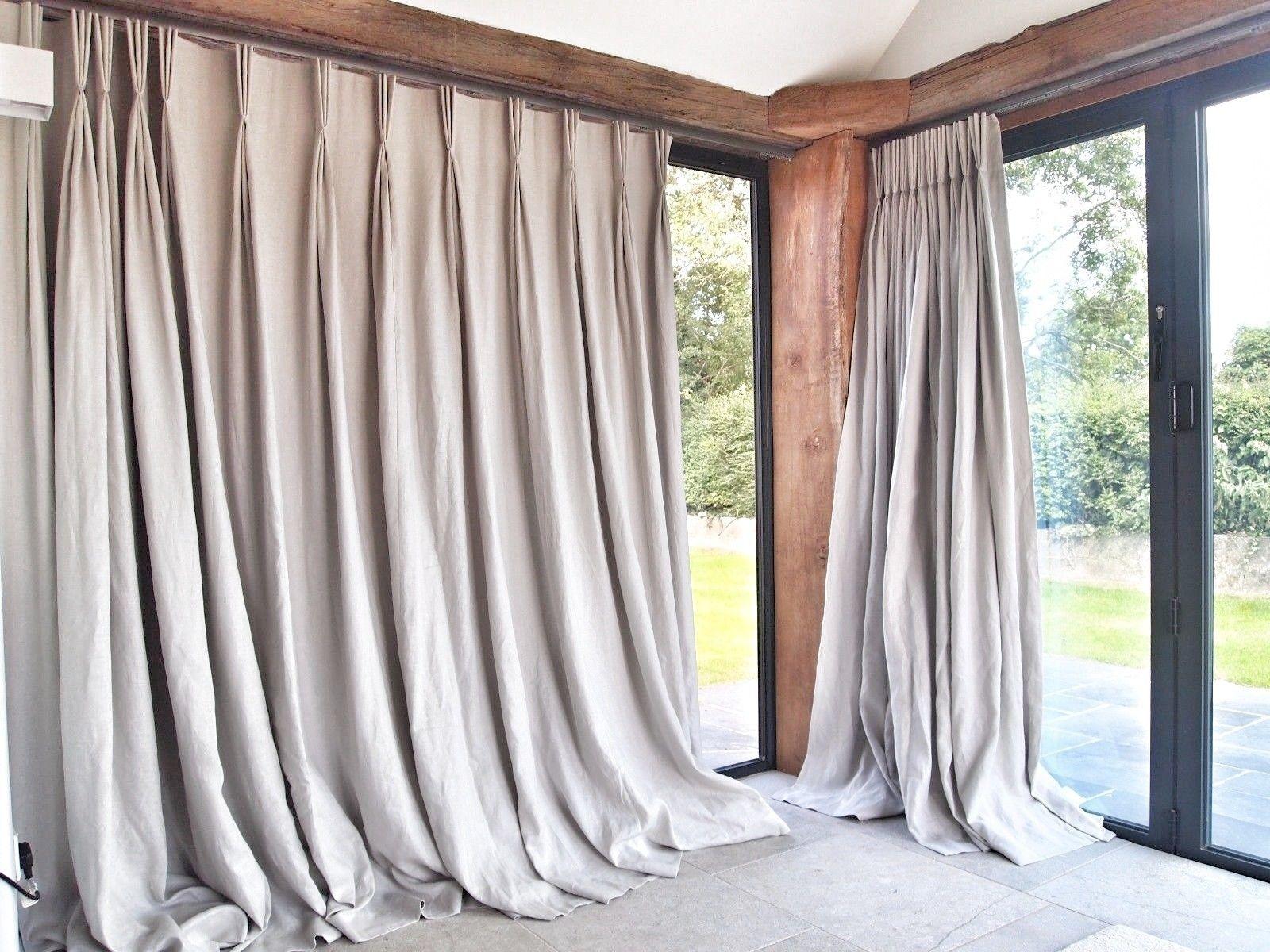 Grace Goldney Pale Grey Pencil Pleat Interlined Linen Curtains